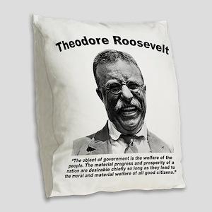 TRoosevelt: Welfare Burlap Throw Pillow