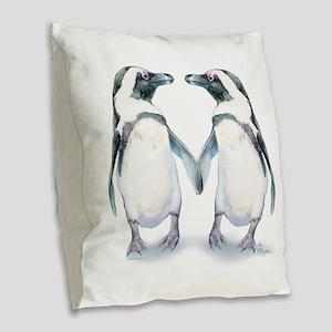 Penguin Pals Burlap Throw Pillow