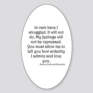 Mr. Darcy's Proposal from Jane Aust Sticker (Oval)