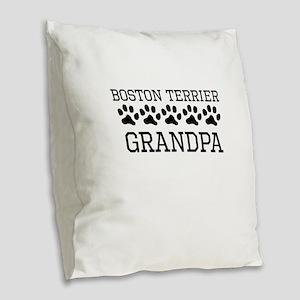 Boston Terrier Grandpa Burlap Throw Pillow