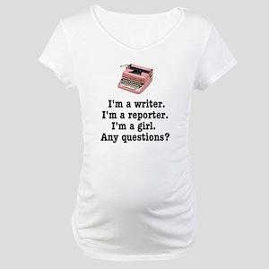 pinktypewriterback Maternity T-Shirt