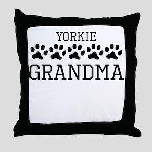 Yorkie Grandma Throw Pillow