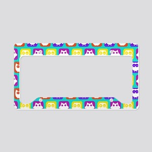 Cute Owl Bright Owl Pattern License Plate Holder