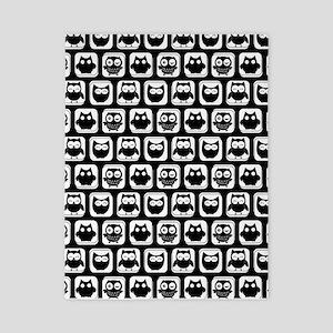 Black and White Owl Illustration Patter Twin Duvet