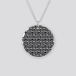 Black and White Owl Illustra Necklace Circle Charm