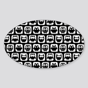 Black and White Owl Illustration Pa Sticker (Oval)