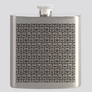 Black and White Owl Illustration Pattern Flask