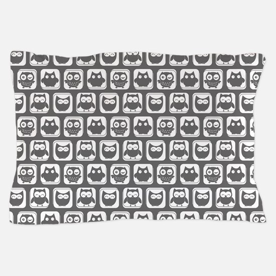 Dim Gray and White Owl Pattern Pillow Case