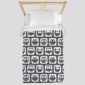 Dim Gray and White Owl Pattern Twin Duvet