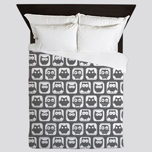 Dim Gray and White Owl Pattern Queen Duvet
