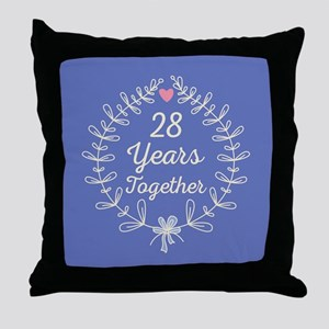 28th Wedding Anniversary Throw Pillow