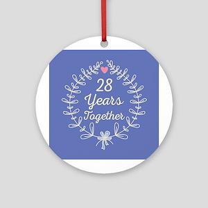 28th Wedding Anniversary Ornament Round