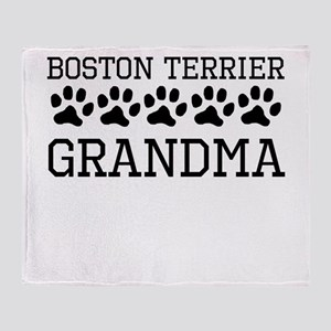 Boston Terrier Grandma Throw Blanket