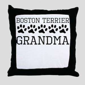 Boston Terrier Grandma Throw Pillow