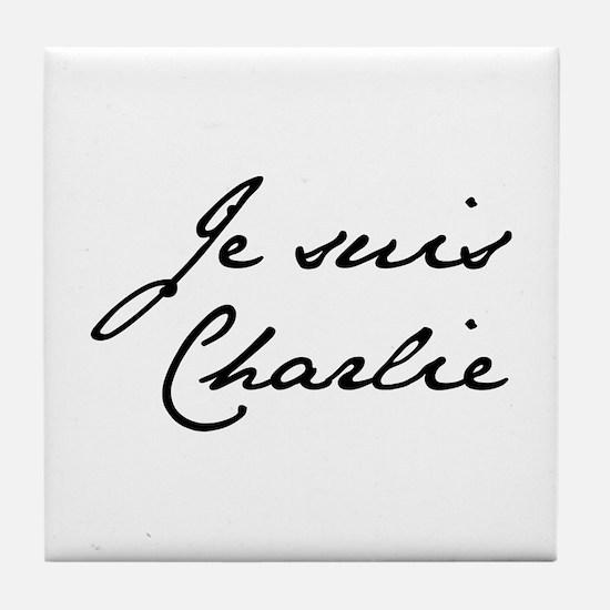 Je suis Charlie-Jan black Tile Coaster