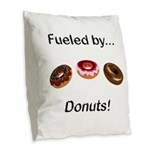 Fueled by Donuts Burlap Throw Pillow