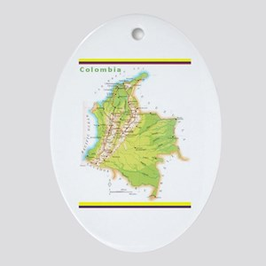 Colombia Green Map Ornament (Oval)