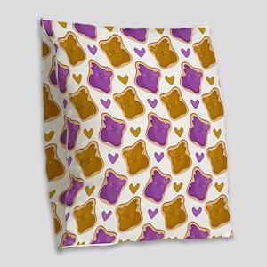 Kawaii PBJ Pattern Burlap Throw Pillow