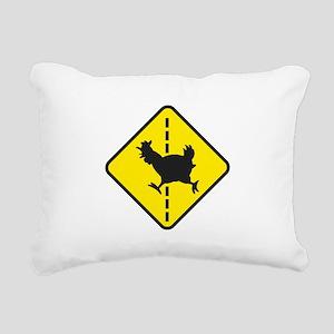 Chicken Road Crossing Rectangular Canvas Pillow