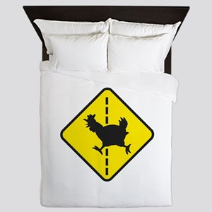 Chicken Road Crossing Queen Duvet