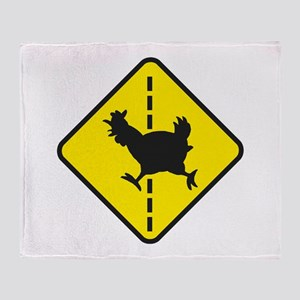 Chicken Road Crossing Throw Blanket
