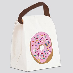 Pink Donut with Sprinkles Canvas Lunch Bag