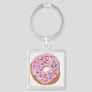Pink Donut with Sprinkles Square Keychain