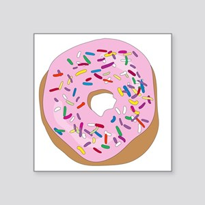 """Pink Donut with Sprinkles Square Sticker 3"""" x 3"""""""