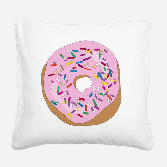 Pink Donut with Sprinkles Square Canvas Pillow