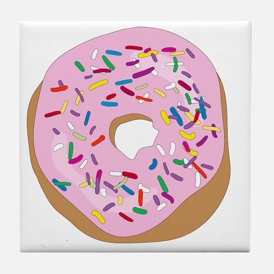 Pink Donut with Sprinkles Tile Coaster