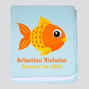 Goldfish CUSTOM Baby Name Birthdate baby blanket