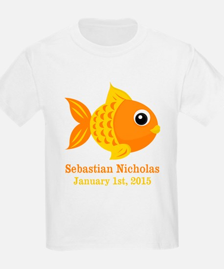 Goldfish CUSTOM Baby Name Birthdate T-Shirt