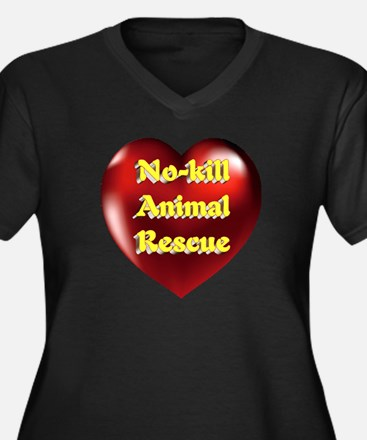 No-kill Anim Women's Plus Size V-Neck Dark T-Shirt
