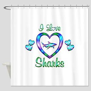 I Love Sharks Shower Curtain