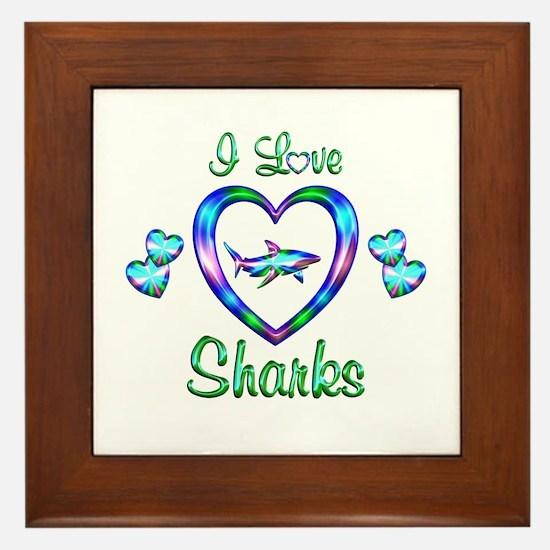 I Love Sharks Framed Tile