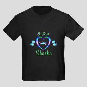 I Love Sharks Kids Dark T-Shirt