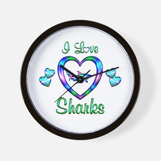 I Love Sharks Wall Clock