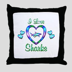I Love Sharks Throw Pillow