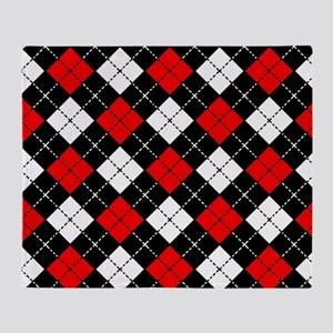 Red Black and White Argyle Pattern Throw Blanket