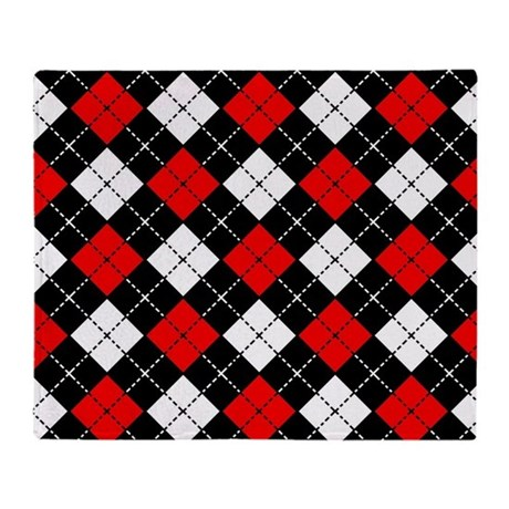 Red Black And White Argyle Pattern Throw Blanket By Cutetoboot