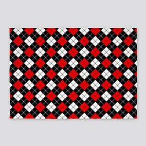 Red Black And White Argyle Pattern 5 X7 Area Rug