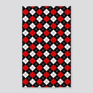 Red Black and White Argyle Pattern Area Rug