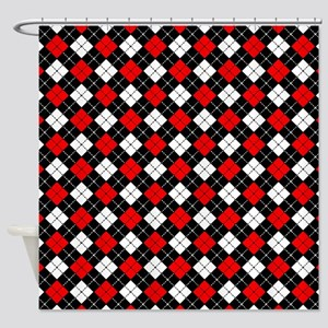 Red Black And White Argyle Pattern Shower Curtain