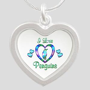 I Love Penguins Silver Heart Necklace