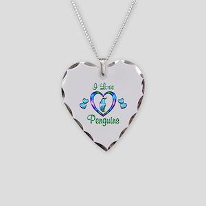 I Love Penguins Necklace Heart Charm