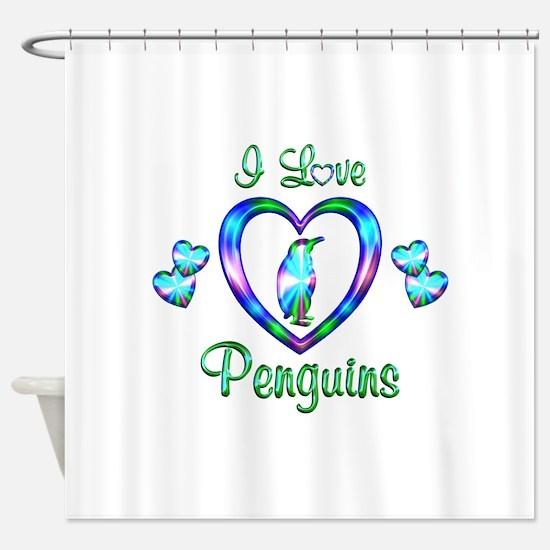 I Love Penguins Shower Curtain