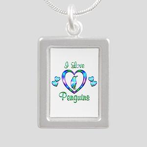 I Love Penguins Silver Portrait Necklace