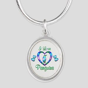 I Love Penguins Silver Oval Necklace