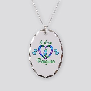 I Love Penguins Necklace Oval Charm