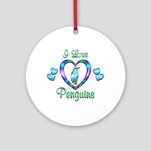 I Love Penguins Ornament (Round)